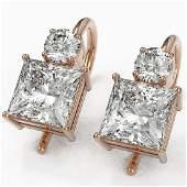 18 ctw Princess Cut Diamond Designer Earrings 18K Rose