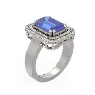 5.35 ctw Tanzanite & Diamond Ring 18K White Gold -