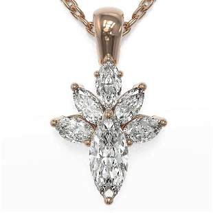 1.5 ctw Marquise Cut Diamond Designer Necklace 18K Rose