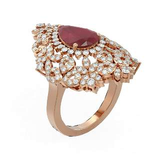 5.77 ctw Ruby & Diamond Ring 18K Rose Gold - REF-230F8M