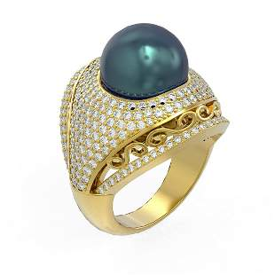 2.5 ctw Diamond & Pearl Ring 18K Yellow Gold -