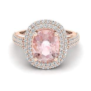 3.25 ctw Morganite & Micro Pave VS/SI Diamond Ring 14k