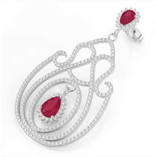 6.40 ctw Ruby & Micro Pave VS/SI Diamond Earrings 14k