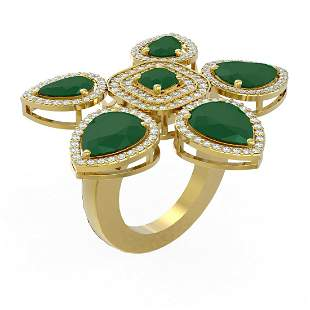 15.43 ctw Emerald Diamond Ring 18K Yellow Gold -