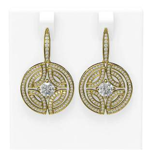 3.36 ctw Diamond Earrings 18K Yellow Gold - REF-540F8M