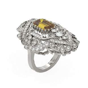 6.02 ctw Canary Citrine & Diamond Ring 18K White Gold -