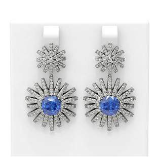 6.9 ctw Tanzanite & Diamond Earrings 18K White Gold -