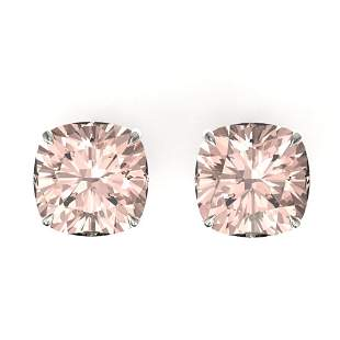 10 ctw Cushion Cut Morganite Designer Stud Earrings 18k