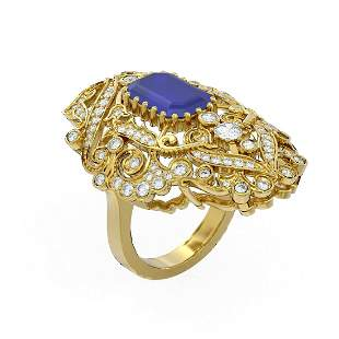 7.38 ctw Sapphire & Diamond Ring 18K Yellow Gold -