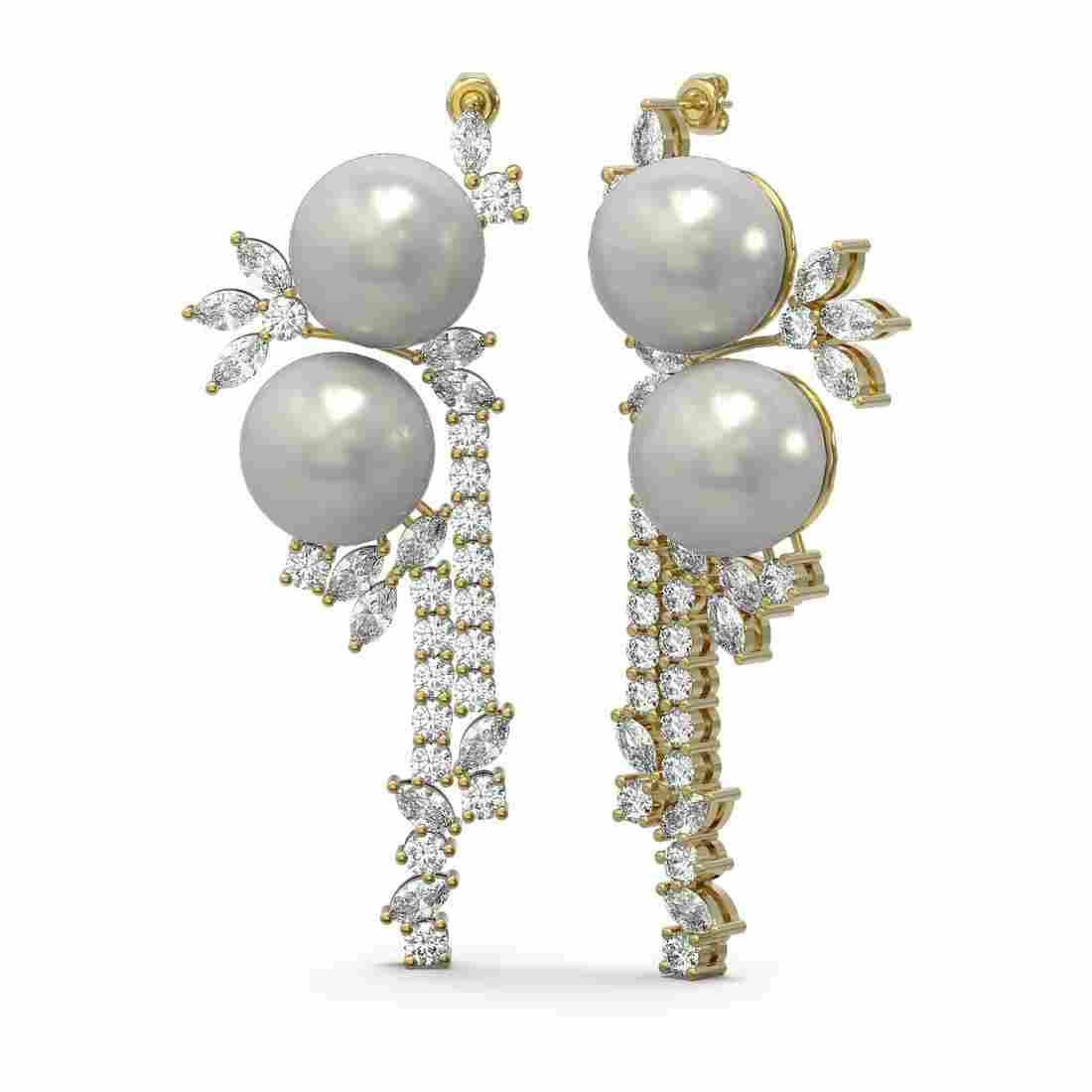 6.17 ctw Diamond & Pearl Earrings 18K Yellow Gold -