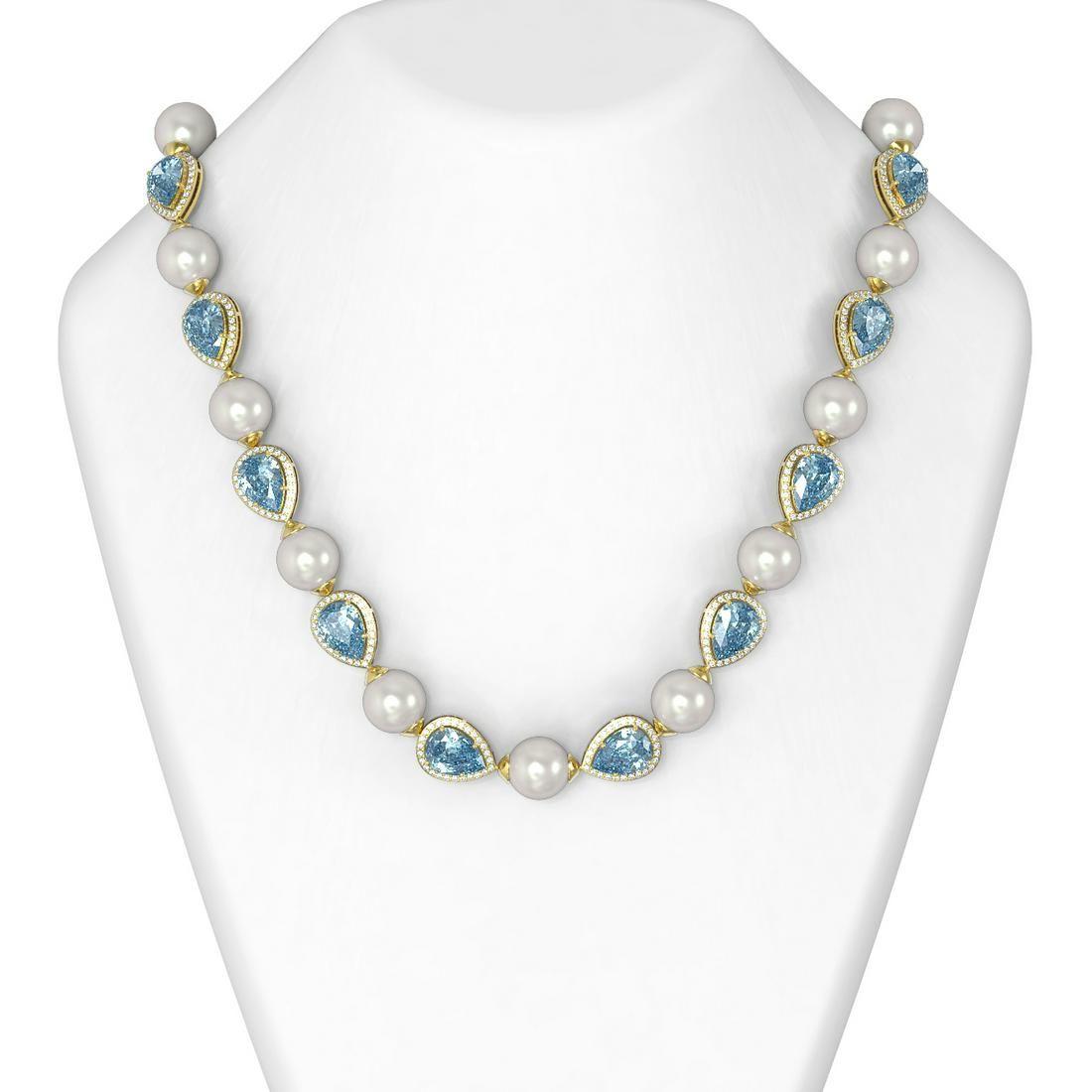 39.65 ctw Blue Topaz & Diamond Necklace 18K Yellow Gold