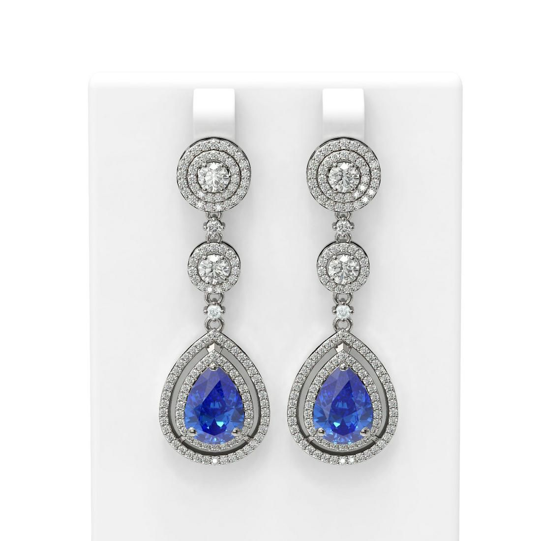 9.52 ctw Tanzanite & Diamond Earrings 18K White Gold -