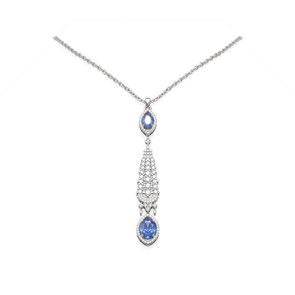 5.43 ctw Tanzanite & Diamond Necklace 18K White Gold -