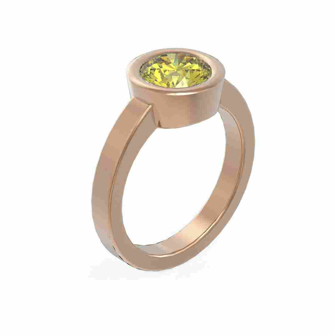 1.5 ctw Fancy Yellow Diamond Ring 18K Rose Gold -