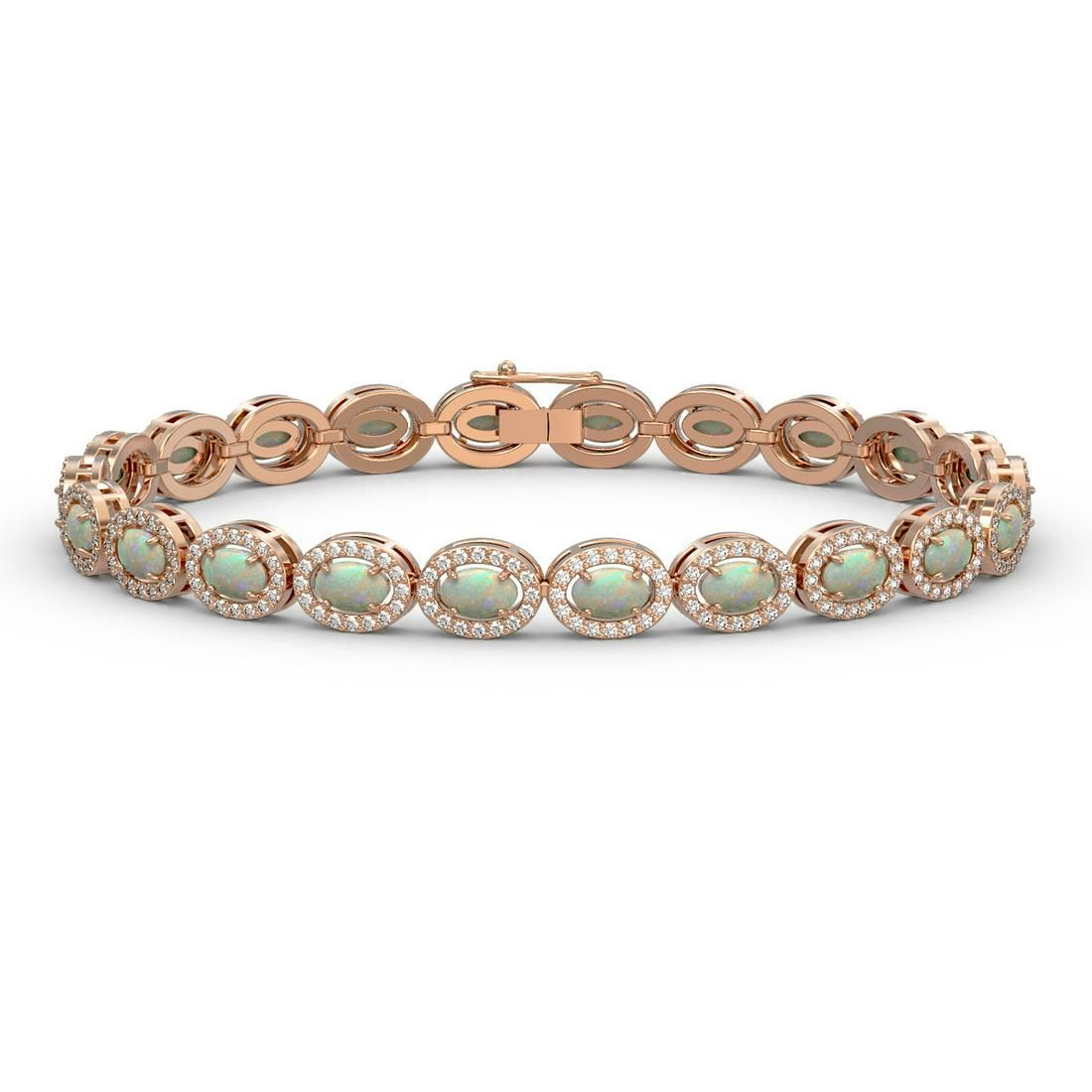 8.28 ctw Opal & Diamond Micro Pave Halo Bracelet 10k