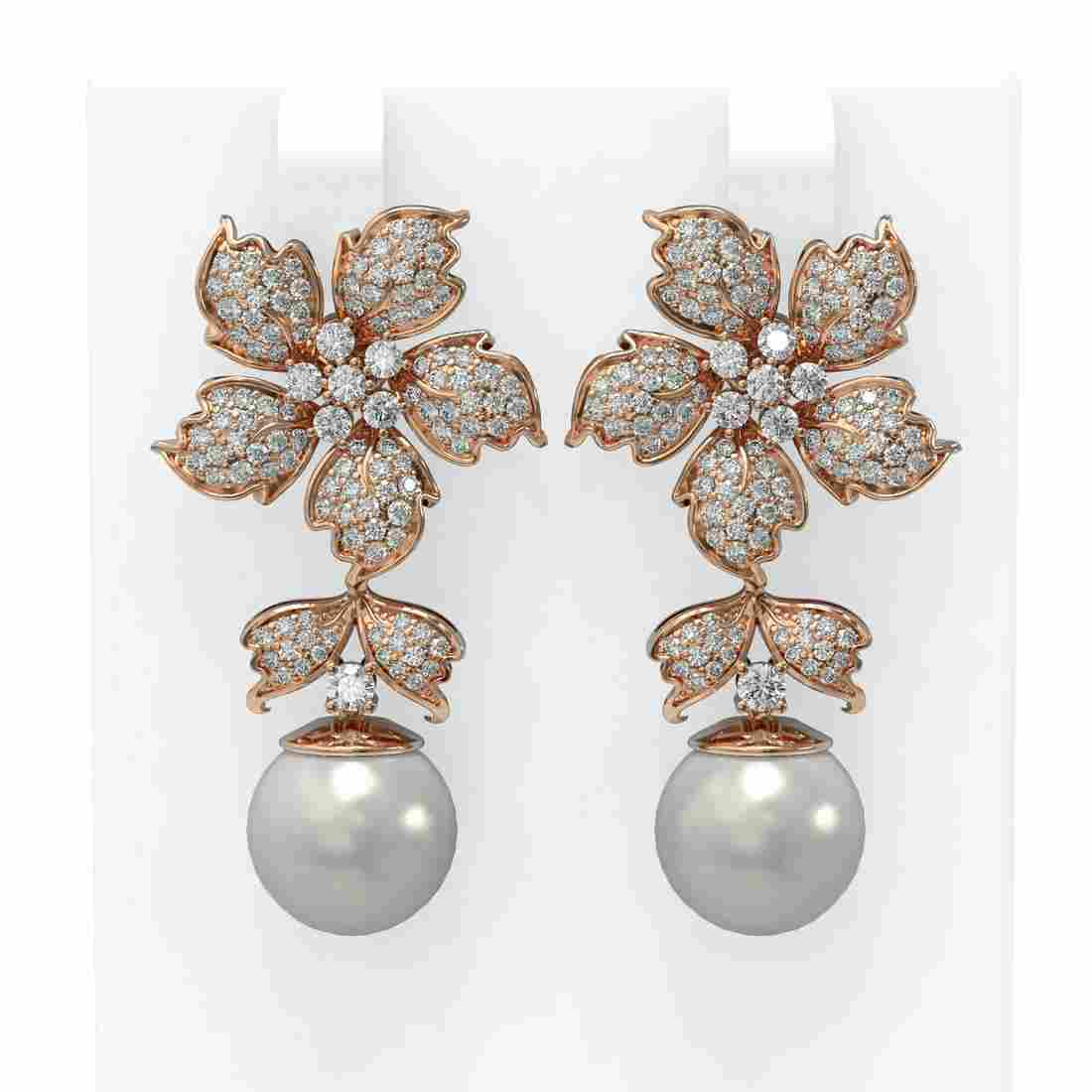 3 ctw Diamond & Pearl Earrings 18K Rose Gold -