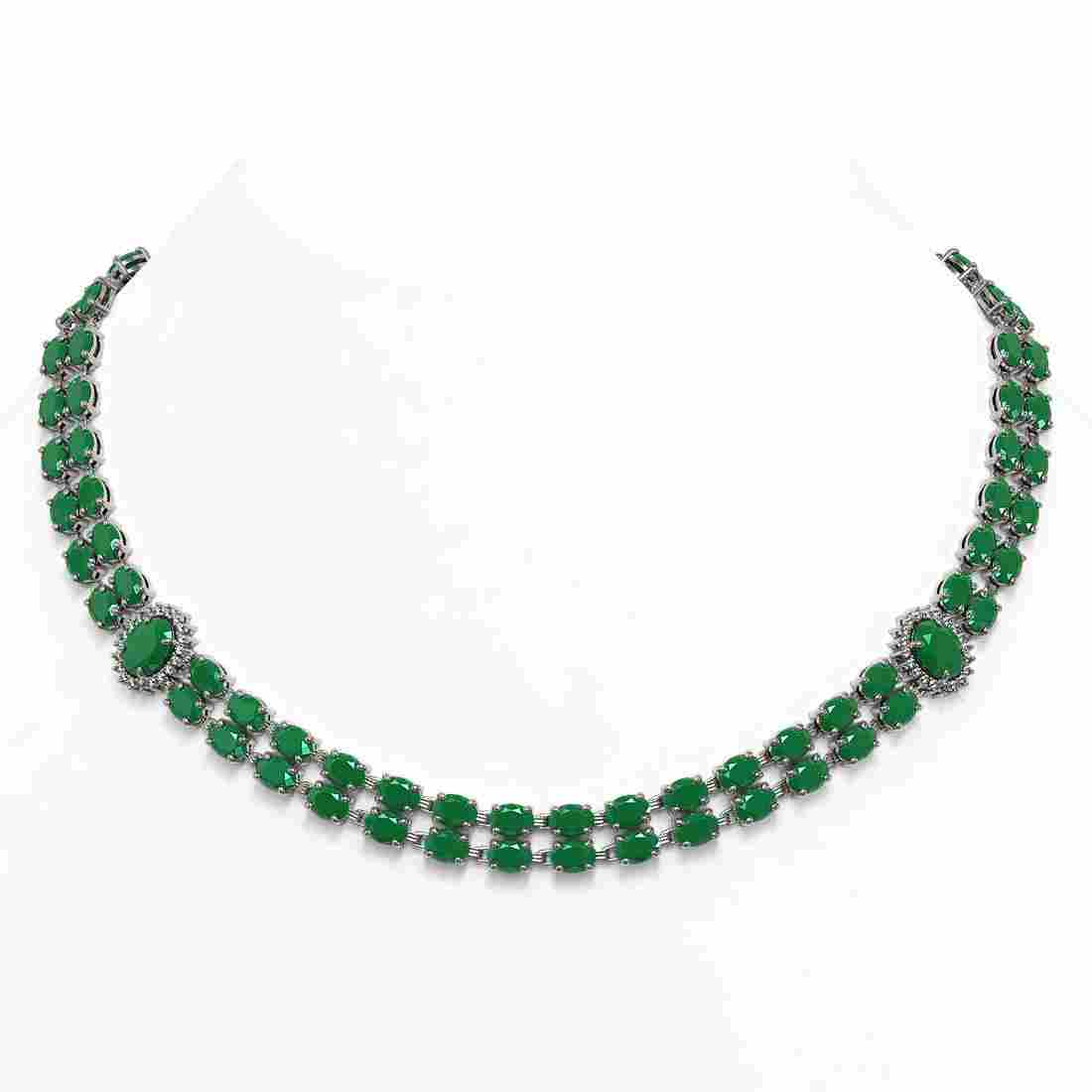 43.13 ctw Emerald & Diamond Necklace 14K White Gold -