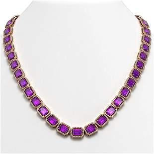 50.99 ctw Amethyst & Diamond Micro Pave Halo Necklace