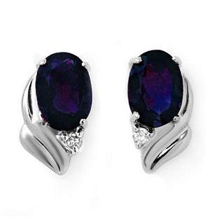1.20 ctw Blue Sapphire & Diamond Earrings 18k White