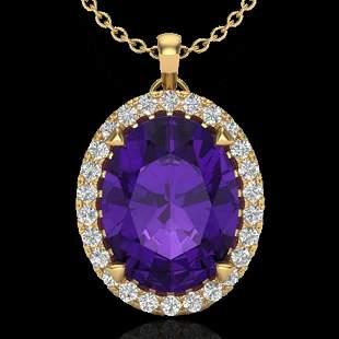 2.75 ctw Amethyst & Micro VS/SI Diamond Halo Necklace