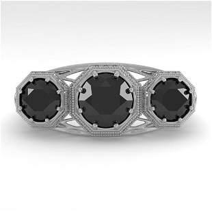 2 ctw Black Diamond Ring Art Deco 14k White Gold -