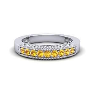0.50 ctw Yellow Sapphire Art Deco Ring 10k White Gold -