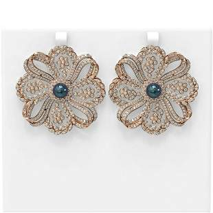 9 ctw Diamond & Pearl Earrings 18K Rose Gold -