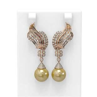 3.73 ctw Diamond & Pearl Earrings 18K Rose Gold -