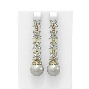 5.79 ctw Diamond & Pearl Earrings 18K Yellow Gold -