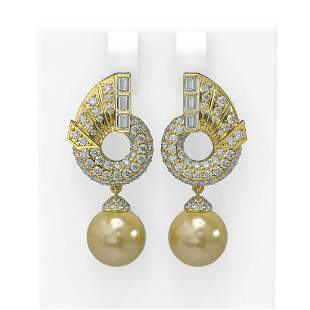 4.21 ctw Diamond & Pearl Earrings 18K Yellow Gold -