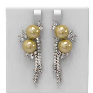 6.17 ctw Diamond & Pearl Earrings 18K Rose Gold -