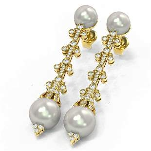 2 ctw Diamond & Pearl Earrings 18K Yellow Gold -
