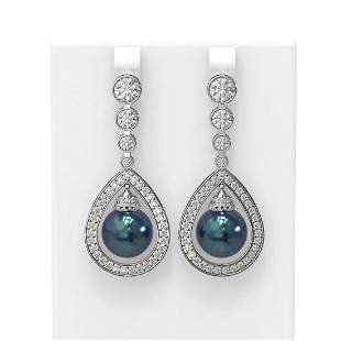 3.8 ctw Diamond & Pearl Earrings 18K White Gold -