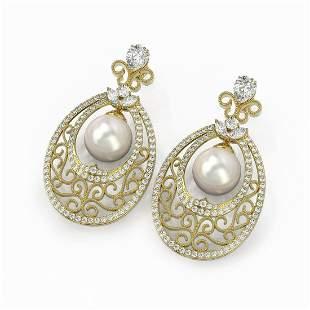 6.5 ctw Mixed Cut Diamond with Pearl Earrings 18K