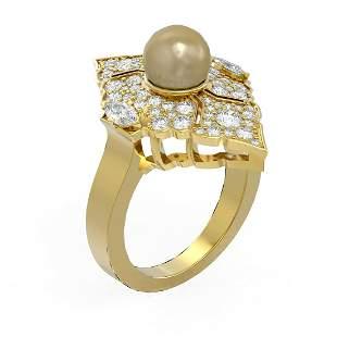 1.66 ctw Diamond & Pearl Ring 18K Yellow Gold -
