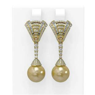 3 ctw Diamond & Pearl Earrings 18K Yellow Gold -