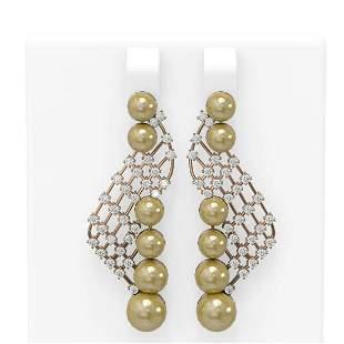 1.55 ctw Diamond & Pearl Earrings 18K Rose Gold -
