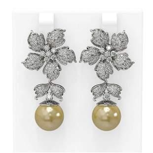 3 ctw Diamond & Pearl Earrings 18K White Gold -