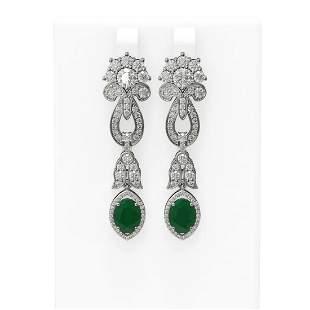 8.66 ctw Emerald & Diamond Earrings 18K White Gold -