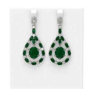 25.7 ctw Emerald & Diamond Earrings 18K White Gold -