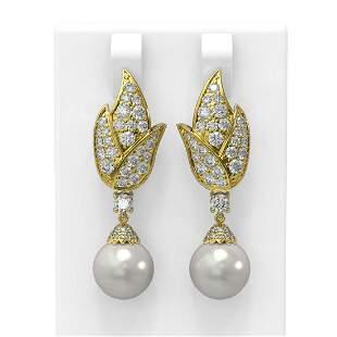 3.62 ctw Diamond & Pearl Earrings 18K Yellow Gold -