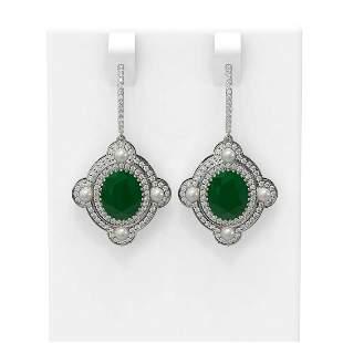 9.96 ctw Emerald & Diamond Earrings 18K White Gold -