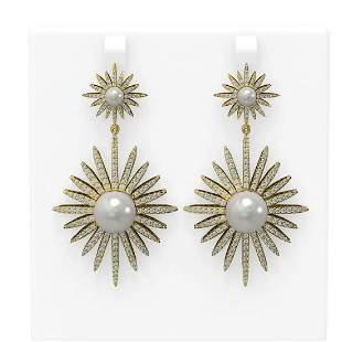 4.31 ctw Diamond & Pearl Earrings 18K Yellow Gold -