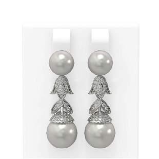 1.01 ctw Diamond & Pearl Earrings 18K White Gold -