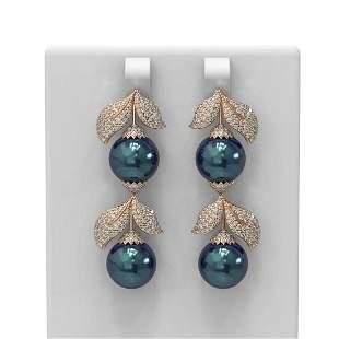 3.31 ctw Diamond & Pearl Earrings 18K Rose Gold -