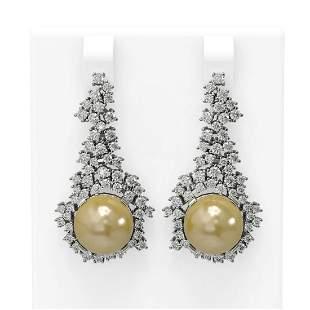 3.26 ctw Diamond & Pearl Earrings 18K White Gold -