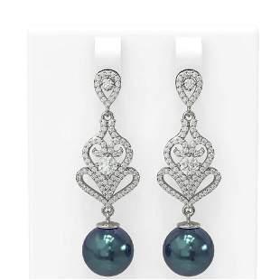 1.91 ctw Diamond & Pearl Earrings 18K White Gold -