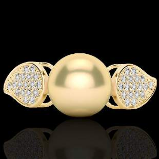 0.27 ctw Micro Pave VS/SI Diamond & Golden Pearl Ring