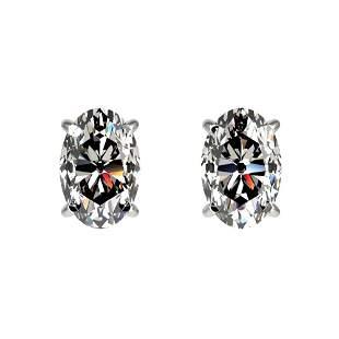 1 ctw Certified VS/SI Quality Oval Diamond Stud