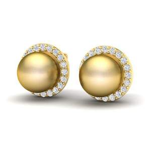 0.50 ctw Micro Pave Diamond & Golden Pearl Earrings 18k